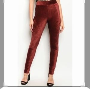 Tea n rose red burgundy velvet leggings pants
